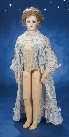 Large French Bisque Wooden-Bodied Poupee by Pierre-Francois Jumeau 1870