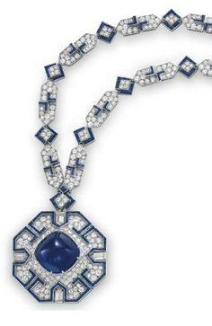 Detail: Sapphire and diamond sautoir by Bulgari, 1969. Elizabeth Taylor collection, Christie's.
