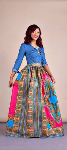 """Imani Skirt. Relaxed yet sophisticated and, best of all, universally flattering – just look how it nips in the waist – a full, high waisted skirt is an instant game-changer with two side pockets and approximately 2"""" waist band.     Ankara 