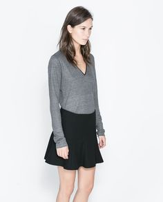 ZARA - WOMAN - T-SHIRT WITH FAUX LEATHER PIPING