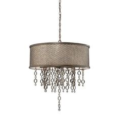 Ajourer French Bronze with Jeweled Accents Eight-Light Drum Pendant