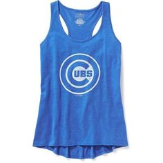 Old Navy MLB Team Racerback Tank For Women ($20) ❤ liked on Polyvore featuring tops, jersey tank, major league baseball jerseys, old navy tank tops, blue jersey and scoop neck tank top