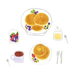 팬케이크 (pan cake) by 달눈 on Grafolio Recipe Drawing, Cute Animal Drawings Kawaii, Prop Design, Food Drawing, Food Illustrations, Food Art, Food Inspiration, Brunch, Dessert Recipes