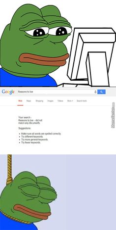 Even Google Can't Help Pepe The Sad Frog.