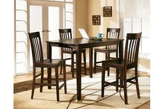 Reddish Brown Hyland Counter Height Dining Room Table and Barstools (Set of 5) View 1