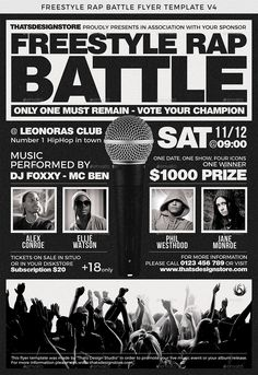 freestyle rap battle flyer template v4 battle rap freestyle
