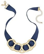 INC International Concepts Gold-Tone Navy Faux Suede Large Link Statement Necklace, Only at Macy's