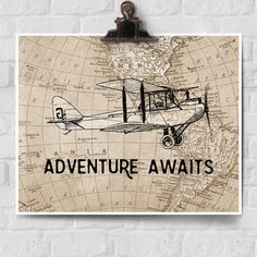Adventure Awaits! This unique piece of wall art features an authentic vintage map and vintage airplane design. Travel themed home decor makes a perfect gift for pilots, travelers, or to decorate a vintage aviation nursery! ::::::::: About Your Print :::::::::  + Professionally printed in studio using archival quality, premium papers + All prints are made-to-order and ship quickly, within 2-4 business days + Many standard print sizes are available, please select from drop down menu + Larger…
