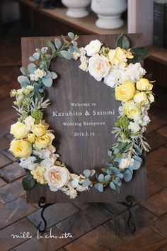 I could see doing this is silks or preserved for a baby's birth too. Wedding Signs, Wedding Cards, Diy Wedding, Wedding Wreaths, Wedding Flowers, Reception Decorations, Flower Decorations, Wedding Staircase, Wedding Welcome Board