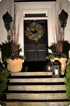 Front door decor at night