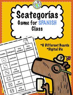 Scategorías Game for Spanish Class