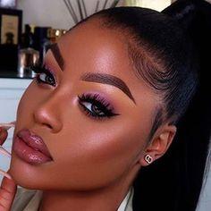 Makeup For Black Skin, Black Girl Makeup, Nude Makeup, Flawless Makeup, Girls Makeup, Gorgeous Makeup, Huda Beauty, Beauty Makeup, Hair Makeup