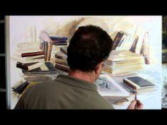 Manuel Domínguez-pintando al óleo del natural, paso a paso.