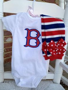 Boston Red Sox outfit for baby boy or girl by DarlingLittleBowShop, $43.95