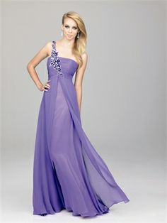 A-Line One Shoulder Ruched Bodice Sequin applique Layered Chiffon Prom Dress PD10634 www.dresseshouse.co.uk $109.0000