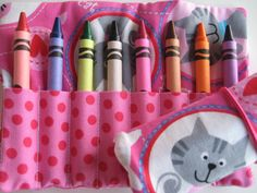 Crayon Roll Pink Kitty Cat Includes 8 Crayons