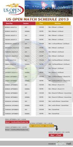 US Open Match Schedule 2013 #US #Open #Match #Schedule #2013 #Infographics #Sports #Tennis