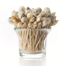 Collecting shells this summer? Keep them in a jar or fix to the end of wooden sticks (chopsticks, toothpicks etc) and make a bunch of shells arrangement.