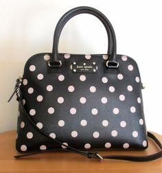 KATE SPADE Wellesley SMALL RACHELLE Purse Bag ~ Black Deco Beige POLKA DOT ~ NWT  | eBay