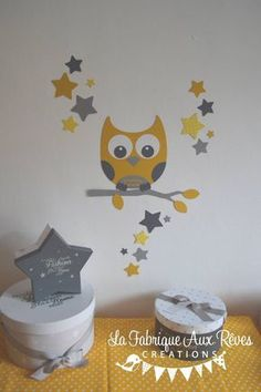 room decoration stickers baby baby branch owl stars yellow light gray dark gray Source by marypopotam Room Stickers, Star Stickers, Boy Room, Kids Room, Baby Yellow, Gifts For Office, Baby Art, Baby Kids, Child Baby