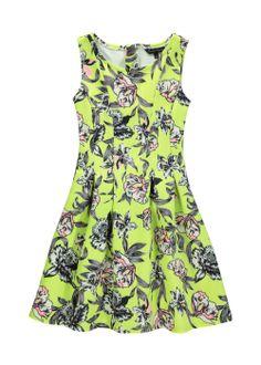 Girls Candy Couture Floral Neon Scuba Dress (8-16yrs) - Matalan