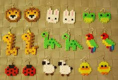Animal Perler Earrings or Keychain Lion  Fox  by merkittenjewelry
