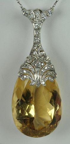 Art Deco Citrine Diamond Pendant