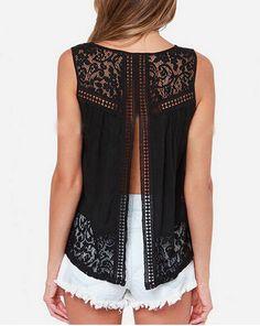 2015 mujeres del verano gasa Sexy espalda abierta camisas sin mangas del tanque Tops negro Femininas Crochet chaleco del cordón blusa camisa en Blusas y Camisas de Moda y Complementos Mujer en AliExpress.com | Alibaba Group