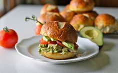Pesto Chicken Salad on Pretzel Buns / Yammie's Noshery