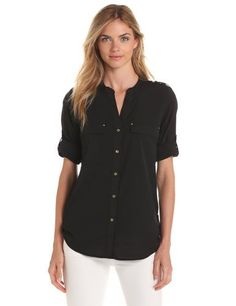 77000cd35 Calvin Klein Women's Crew Roll Sleeve Shirt, Black, X-Large: Button-front  blouse with split neckline featuring flap chest pockets and long roll-tab  sleeves ...