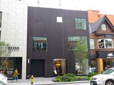 reSAWN's MONOGATARI charred cypress on exterior of COS Bloor Street store. Photo by 'Greg'