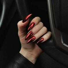 Halloween Acrylic Nails, Red Acrylic Nails, Pink Nails, My Nails, Glitter Nails, Pastel Nails, Perfect Nails, Gorgeous Nails, Nail Art Vermelho