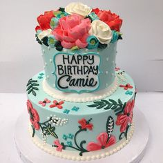 Love the colors on this cake. Very Rifle Paper Co inspired.