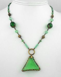 1920s RARE Art Deco Vintage Green Faceted Glass Beads Necklace | eBay