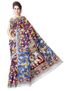 Kalamkari Hand Block Print Cotton Saree-Multicolor 1