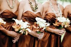 copper bridesmaid dresses. LOVE the color...maybe with aubergine calla lilies or dark merlot roses.