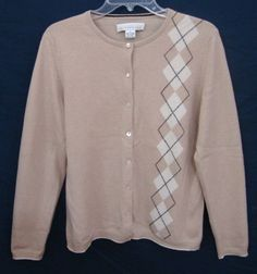Bloomingdales 100% Cashmere Cardigan Sweater Argyle Button Front Beige Large #Bloomingdales #Cardigan