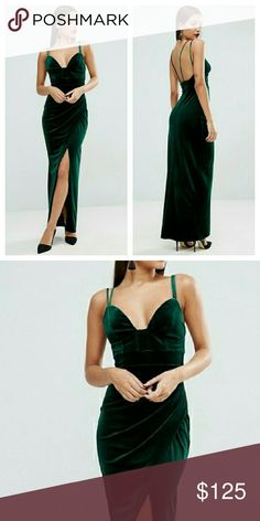 Asos Bustier Style Green Maxi Dress NWTs. UK size 18 / US 14 ASOS Curve Dresses Maxi