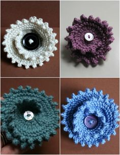 Knitted jewelry accessories - read more on the LoveKnitting blog. This is the Floral Spin pattern by Dawn Finney!
