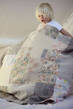 Hand quilted blanket. Made in linen, cotton, double gauze, wool, Liberty fabric…