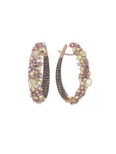 Brumani 18k Rose Gold Diamond, Chrysoberyl, Madalite Garnet and Lemon Quartz Baobab Grass Oval Hoop Earrings