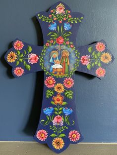 Nativity Wooden Cross by Georgannself on Etsy Painted Wooden Crosses, Rosemary West, Hand Painted Ornaments, Santa Ornaments, Tole Painting Patterns, Day Of The Dead Art, Henna Patterns, Wood Patterns, Christmas Wood