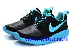 new product 9539d 313d9 Vendre Pas Cher Chaussures Femme Nike Roshe Run (couleur:vamp-noir,interieur,seul,logo-bleu)  en ligne en France.