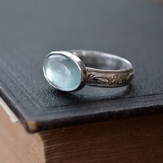 Aquamarine Ring with Sterling Floral Band - Romance by moonovermaize on #Etsy #handmade #jewelry #aquamarine