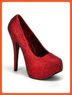 Red Rhinestone Embellished High Heel Platform Pump - 6 - Pumps for women (*Amazon Partner-Link)