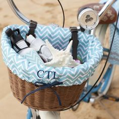 Natural bicycle basket, with blue and white chevron. Optional monogram. Also ordered this can't wait to see it up close!! $49