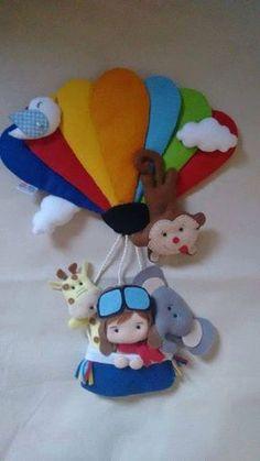 O aviador no balão com bichinhos em feltro Baixar molde de feltro de boneco aviador com balão e bichinhos da floresta.