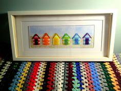 Rainbow Beach Huts Fused Glass Art in Box Frame x Glass Wall Art, Sea Glass Art, Stained Glass Art, Fused Glass, Glass Beach, Blown Glass, Beach Huts Art, Beach Art, Glass Fusion Ideas