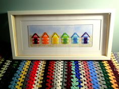 Rainbow Beach Huts Fused Glass Art in Box Frame by MYHEARTOFGLASS