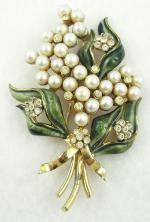 Brooches-Signed - Francois (Coro) Enameled Pearl Floral Brooch